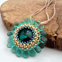 Teal Flower Pendant Necklace
