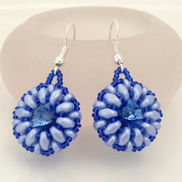 Blue Bead Weave Earrings