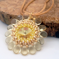 Yellow Flower Pendant Necklace