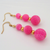 Pink Weathered Agate Drop Earrings
