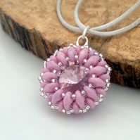 Light Pink Bead Weave Pendant