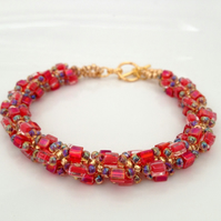 Flame Red & Gold Bead Weave Bracelet