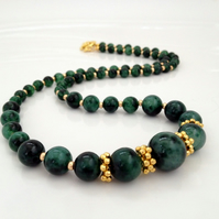 Gold Plated Green Quartz Necklace