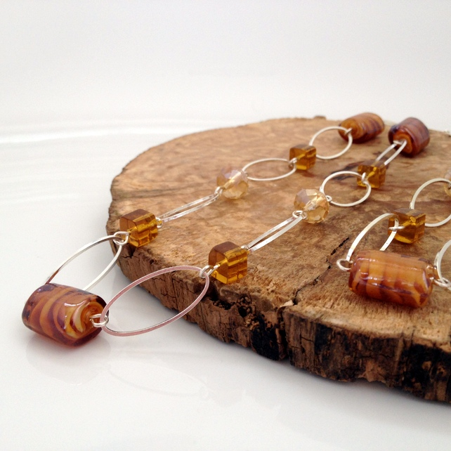Caramel Tones Over The Head Necklace