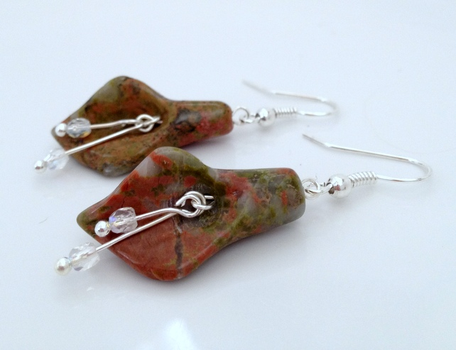 Silver Plated Unakite Jasper Calla Lily Earrings