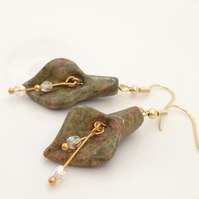 Gold Plated Unakite Jasper Calla Lily Earrings