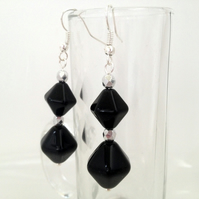 Black & Silver Drop Earrings