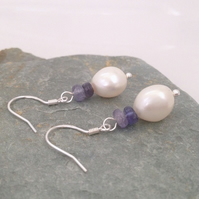 Sterling Silver White Freshwater Pearl & Tanzanite Earrings