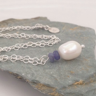 Sterling Silver White Freshwater Pearl & Tanzanite Necklace