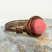 Antique Bronze & Pink Coral Wrapped Ring