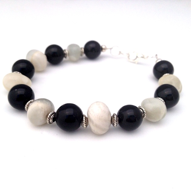 SALE - Black Agate & Moonstone Bracelet