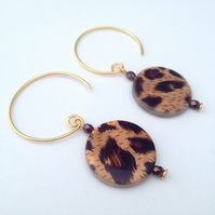 Brown Shell Coin Earrings