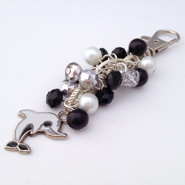 Black and White Dolphin Handbag Charm