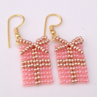 Pink Christmas Present Earrings