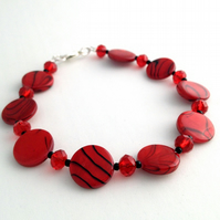 Red Banded Shell Bracelet