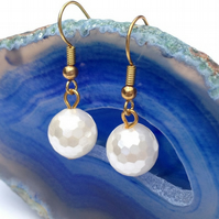 Gold Plated Faceted White Shell Pearl Earrings
