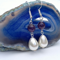 White Shell Pearl And Amethyst Drop Earrings