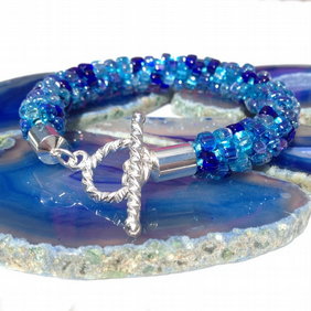 Shades of Blue Beaded Kumihimo Bracelet