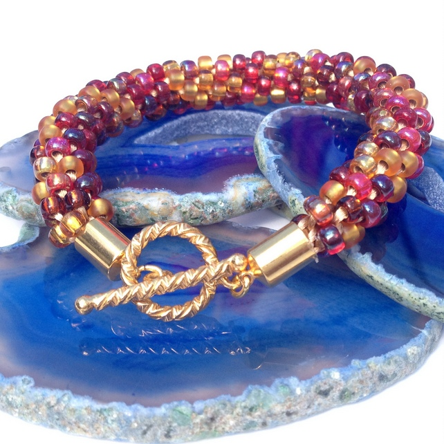 Autumn Hues Beaded Kumihimo Bracelet