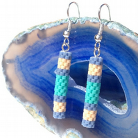 Peyote Tube Earrings In Blue, Cream And Green