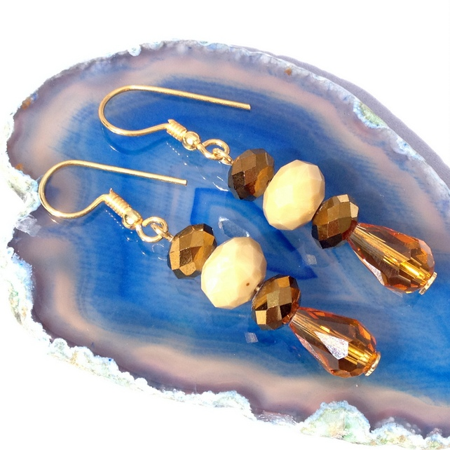 Bronze & Honey Coloured Crystal Earrings