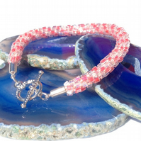 Sparkly Pink & White Kumihimo Bracelet