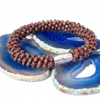 Red Picasso Beaded Kumihimo Bracelet
