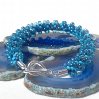 Blue Bubbles Beaded Kumihimo Bracelet