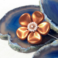 Metallic Copper Flower Brooch Pin