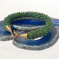 Chunky Green Beaded Kumihimo Bracelet