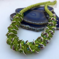 Chartreuse Waves Kumihimo Necklace