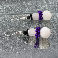 Frosted Agate Snowman Earrings With Purple Scarf