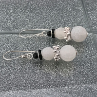 Frosted Agate Snowman Earrings With Silver Scarf