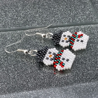 Bead Weave Snowmen Earrings With Green & Red Scarves