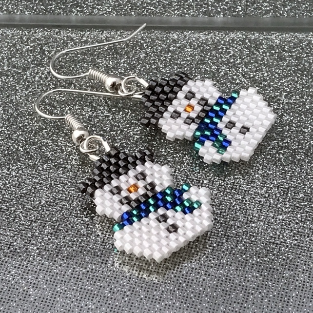 Bead Weave Snowmen Earrings With Blue & Green Scarves