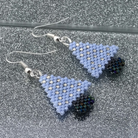 Blue & Silver Christmas Tree Earrings