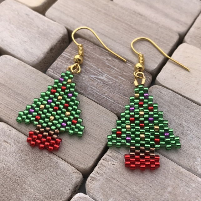 Christmas Tree Earrings, Bead Weave Festive Earrings