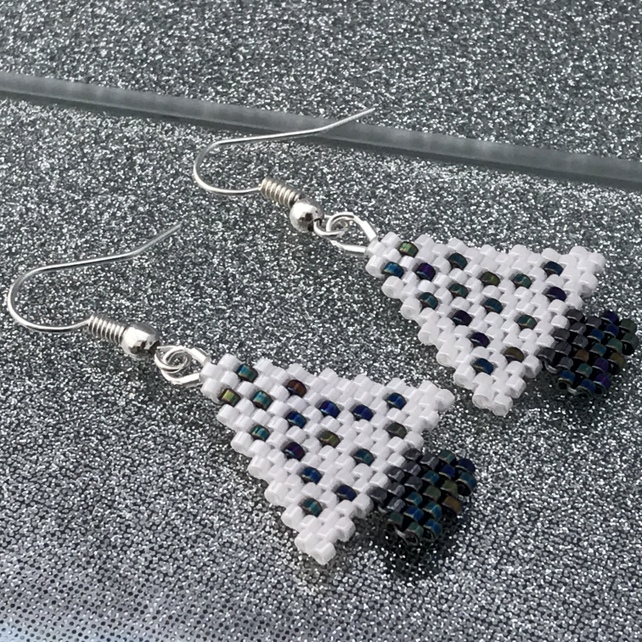 Silver Plated Black & White Christmas Tree Earrings