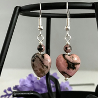 Rhodonite Heart Earrings
