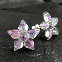 Pale Pink & Lilac Star Stud Earrings