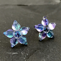 Blue & Purple Star Stud Earrings