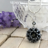 Gunmetal Coloured Crystal Bead Weave Pendant Necklace