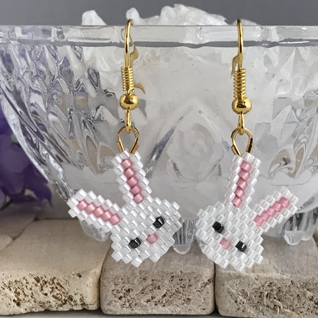 Gold Plated Beaded Bunny Earrings