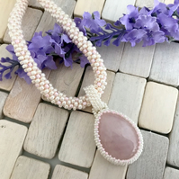 Rose Quartz Bead Weave Pendant With Beaded Kumihimo Chain