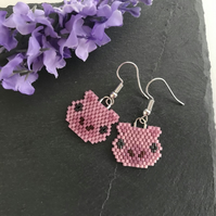 Silver Plated Beaded Pig Earrings