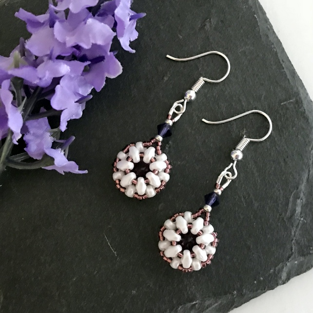 Purple Coloured Crystal Bead Weave Earrings