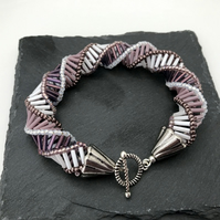 Purple & White Bugle Bead Russian Spiral Bracelet