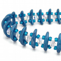 SALE - Metallic Blue Crescent Bracelet