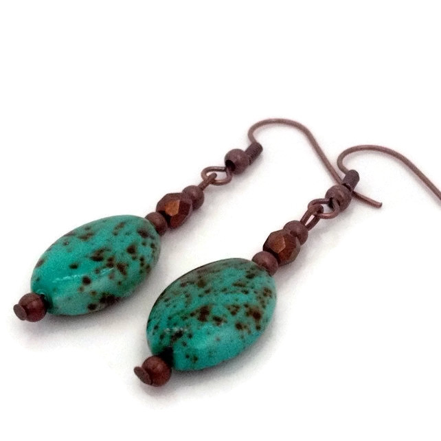 Mottled Green & Copper Earrings