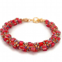 SALE - Flame Red & Gold Bead Weave Bracelet